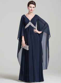 Império Decote V Longos Tecido de seda Vestido para a mãe da noiva com Pregueado Beading lantejoulas