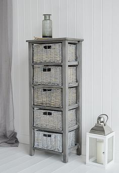 Grey tall storage with baskets from St Ives Range. Grey bedroom furniture from The White Lighthouse. Fast UK delivery