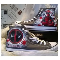 Deadpool custom hand painted shoes Painted Converse, Painted Canvas Shoes, Hand Painted Shoes, Converse Shoes, On Shoes, Chuck Taylors, Snoopy Shoes, Converse Chuck Taylor, Cute Sneaker Outfits