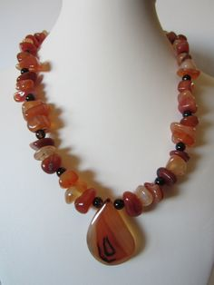Agate Necklace with free pair of earrings Fall Necklace by yasmi65, $28.00