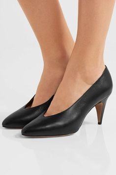 Heel measures approximately 75mm/ 3 inches Black leather  Slip on Made in Italy