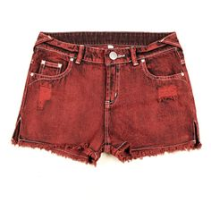 Split Hem Denim Cutoffs With Distressed Detail ($32) ❤ liked on Polyvore featuring shorts, red, destroyed denim shorts, low rise shorts, destroyed shorts, cutoff shorts y red shorts