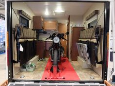 The interior fit-out of the Whitewater 827 Toy Hauler from Riverside RV means you don't need to leave your motorcycle at home