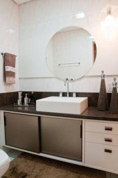 Bancada de granito marrom para banheiro