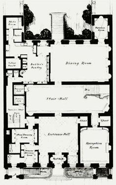 Marshal Field Residence ground floorplan - 4-6-8 East 70th Street, New York City