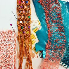 Macrame and materials samples / Jane Bowler Workshops Sustainable Textiles, Sustainable Design, Sustainable Fashion, Textiles Sketchbook, Fashion Sketchbook, Textile Patterns, Textile Design, Floral Patterns, Textiles Techniques
