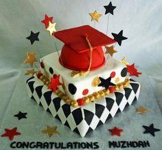 Square Offset Tiered Graduation Cake Muzhdah