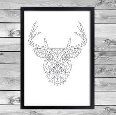 Printable Art Poster Print - Black White Reindeer Illustration Geometric Animals Cool Kids Room Interior Wall Decoration Digital Download