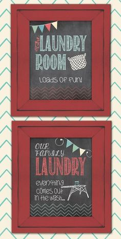 """For laundry room: paint the 3 scratched """"wood"""" frames turquoise, red and yellow"""