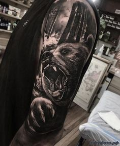 Fun bear piece thanks josh! Forarm Tattoos, Skull Tattoos, Leg Tattoos, Body Art Tattoos, Animal Sleeve Tattoo, Arm Sleeve Tattoos, Animal Tattoos, Grizzly Bear Tattoos, Herren Hand Tattoos