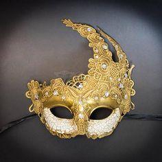 Venetian Goddess Golden Bronze Masquerade Mask Made of Resin