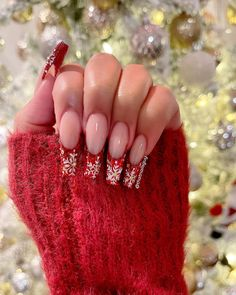 """Nails By Andy, Sam & Khloe on Instagram: """"❤️☃️✨ #nails #nailtech #nailsofinstagram #nailsofig #nailinspo #showyourclawssss #nailmag #nailjunkie #nailsonfleek #explore #explorepage…"""" Holiday Nail Designs, Holiday Nails, Nail Pro, Nail Tech, Nails Magazine, French Nails, Nails On Fleek, Nail Artist, Nail Inspo"""