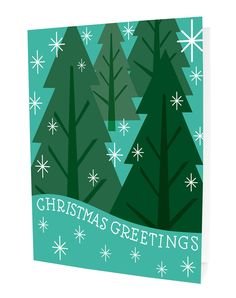 Snowy Trees - folded holiday cards - eco-friendly made in the usa