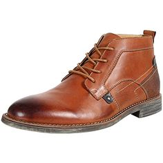 rismart Men's Ankle High Round Toe Popular Leather Chukka Boots SN01801(Tan,us7.5)