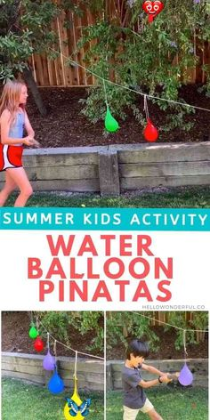 Water Balloon Piñatas How to make water balloon piñatas. A fun summer water activity for kids #hellowonderful<br> Find out how easy to set up this hit outdoor summer activity for your kids!