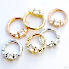 Piercing ring segment clips gold gelb 14 karat