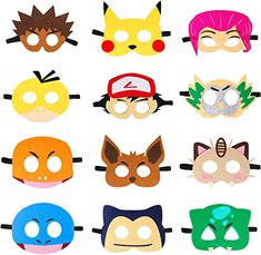 Pikachu Masks Dress Up Costumes Pikachu Halloween Birthday Party Favors Anime Cartoon Trainer Pretend Play Accessories Photo Booth Props Video Game Party Supplies for Kids Boys Girls Birthday Party Games, 6th Birthday Parties, Halloween Birthday, 7th Birthday, Pokemon Themed Party, Pokemon Birthday, Pokemon Games For Kids, Pokemon Masks, Pokemon Pokemon