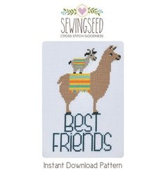 Best Friends, Goat and Llama Cross Stitch Pattern Instant Download, Quirky, Silly DIY