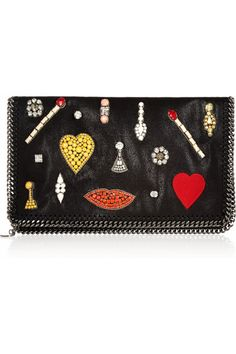Stella McCartney - The Falabella crystal-embellished faux leather clutch