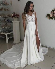 Lace Appliques Chiffon Leg Slit Wedding Dress makes it perfect as garden or country wedding,beach wedding,boho or bohemian weddings ,prom or evening occasions