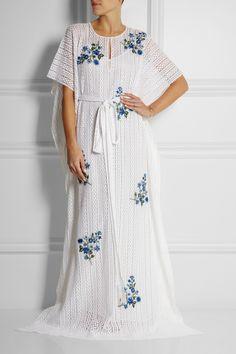 Oscar de la Renta Floral-embroidered crocheted lace kaftan NET-A-PORTER.COM