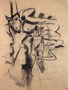 """""""Composition"""", 1954, Willem de Kooning, American, b. The Netherlands (1904-1997), charcoal on vellum, 32 1/2 x 24 3/16 in. Museum purchase with funds from the Dillard Paper Company for the Dillard Collection, 1971. 1971.1795"""