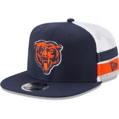 3b37886c54f Men s Chicago Bears New Era Navy White Striped Side Lineup 9FIFTY  Adjustable Snapback Hat