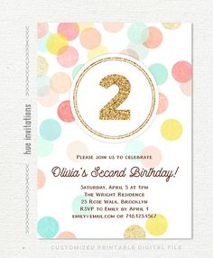 second birthday invitation girl pink gold mint two in 2018 2nd