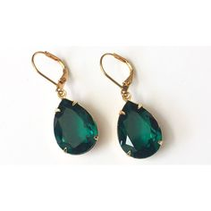 Swarovski Emerald Crystal Earrings Emerald Green Rhinestone Jewelry... ❤ liked on Polyvore featuring jewelry and earrings