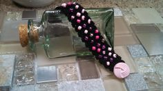 """Crocheted Black Beaded Cuff Bracelet with pink tone beads - 6.5"""""""