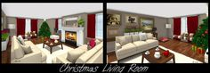 3D living room floor plan decorated for Christmas - Featuring coffee items, Christmas tree, wall art & fireplace.  2 views, designed by Lise Hoekstra in #RoomSketcher floor planner.  http://planner.roomsketcher.com/?ctxt=rs_com  #floorplan #floorplanner #livingroom #Christmas #fireplace #coffee #art #decorate #decorations