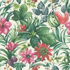 Botanical Bloemen wit, groen en roze