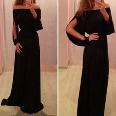 Sexy Slash Collar Long Sleeve Solid Color Hollow Out Women's Dress (BLACK,S) in Maxi Dresses | DressLily.com