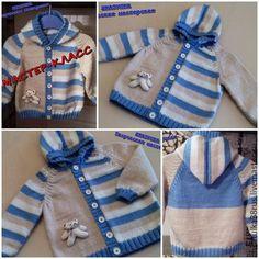 Baby Boy Cardigan, Cardigan Bebe, Knitted Baby Cardigan, Baby Pullover, Baby Sweater Knitting Pattern, Baby Boy Knitting, Knitting For Kids, Baby Knitting Patterns, Diy Crafts Knitting