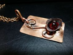 Red Flower Copper Pendant Soldered Copper Flower by mssdelilah