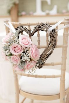 Diy wedding decorations gorgeous wedding chair decorations with pink roses and heart shaped wreath diy wedding . Wedding Chair Decorations, Wedding Chairs, Wedding Table, Romantic Decorations, Wedding Themes, Wedding Centerpieces, Romantic Ideas, Heart Decorations, Wedding Chair Covers