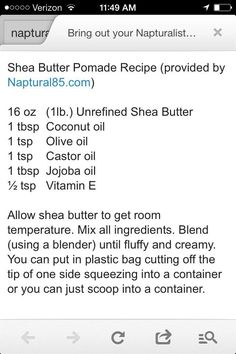 DIY Skin Care Tips : Shea Butter PomadeYou can find Butter and more on our website.DIY Skin Care Tips : Shea Butter Pomade Natural Hair Recipes, Natural Hair Tips, Natural Hair Journey, Natural Hair Styles, Pelo Natural, Belleza Natural, Black Hair Care, Hair Remedies, Health Remedies