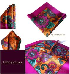 Wedding Mens Silk Pocket Square Hand Painted Paisley Pink Fuchsia Orange Purple hanky Blue Groomsman Handkerchief Birthday gift 40 cm FS 138. This luxury hand-painted silk satin pocket square is very appropriate emphasis on men's clothing. It will add elegance and individuality to your look.   The Hanky is uniquely designed with many elements and floral/paisley ornaments in hot pink, fuchsia, orange, purple, blue, with dark gold contour and decorative fuchsia color frame.