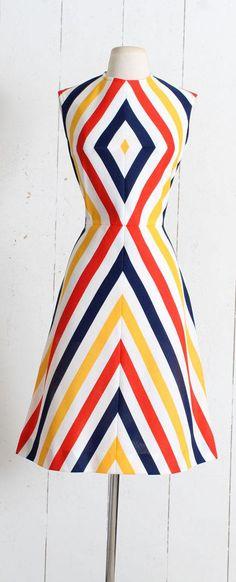 Vintage 1960s Dress vintage 60s dress chevron stripe red