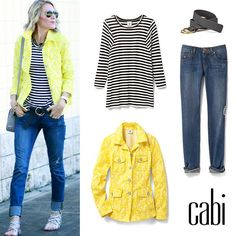 Brighten your winter wardrobe with the Field Jacket. Pair it with the Bistro Tee and Mojave Slim Boyfriend for the perfect causal ensemble. Shop 24/7 @ deborahkolb.cabionline.com
