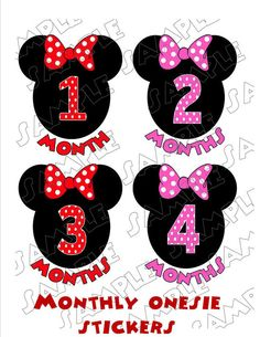 Monthly Onesie Stickers Minnie Mouse inspired
