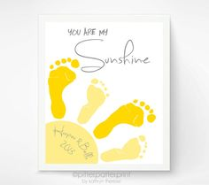11x14 inch You Are My Sunshine Wall Art Print - Footprint Sun, Playroom Art, Sibling Art, Gray & Yellow Nursery Art, Baby Footprint Art