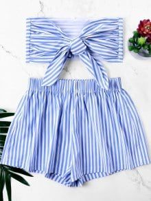 Knot Bandeau Top With Striped Shorts Set – Blue S – Fashion Outfits Outfits For Teens, Summer Outfits, Casual Outfits, Cute Outfits, Fashion Outfits, Mode Rock, Two Piece Outfit, Striped Shorts, Diy Clothes