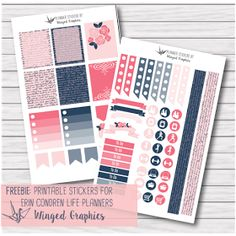 Free Printable Elegant Planner Sticker Set from WInged Graphics