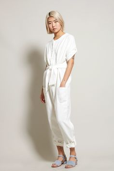 $345 No.6 Wallace Jumpsuit in White Linen