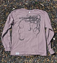 Natural Cinder Long-Sleeve Giant Squid T-Shirt by Irontree Clothing on Scoutmob Shoppe