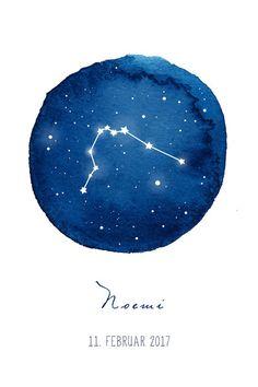 Bilder - Poster Kind Baby Geburt Sternzeichen Name - ein Designerstück von SchildkroetenMami bei DaWanda