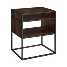 Buy the Delacora Dark Walnut Direct. Shop for the Delacora Dark Walnut Columbus Long Laminate, Wood and Metal End Table and save. Metal End Tables, Modern Side Table, Side Tables, Dark Walnut, Walnut Wood, Storage Shelves, Open Shelving, Shelf, Side Table With Storage