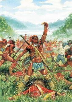 Huron warrior holds up the scalp of a British Grenadier, French and  Indian War by Giuseppe Rava