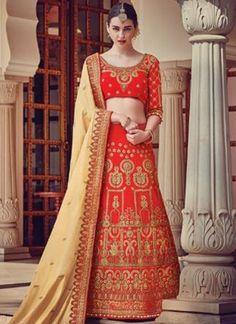 Beige Red Embroidery Work Silk Chiffon Designer Wedding Lehenga Choli http://www.angelnx.com/Lehenga-Choli/Wedding-Lehenga-Choli